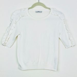 Zara knitted white top with ruffles sleeves S